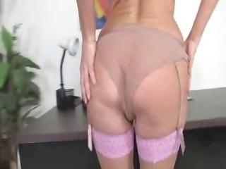 super blonde milf into thigh high pantyhose
