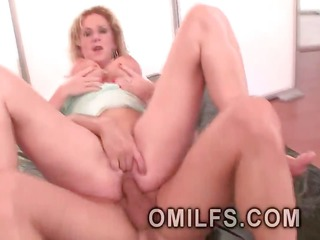 albino large tittied milf mounts a hard youthful