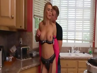 hot, naughty blonde mom tina eats cock and takes