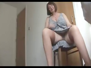 busty, hirsute older  fat is getting nude and