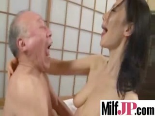 horny asians milfs acquires drilled really uneasy