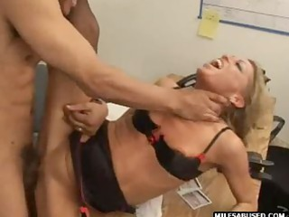 bleached lady having on high shoes does ass