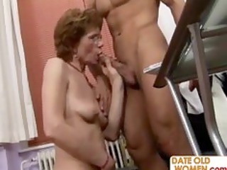 grandmother gang-bangs younger guy into the