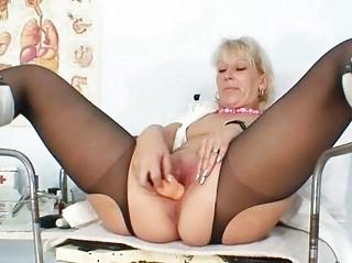 albino lady inside latex uniform extreme sex toy