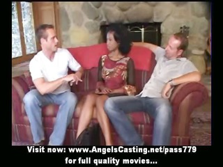 innocent afro bride into threesome does blowjob