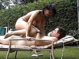 super grownup maiden copulates dude into backyard