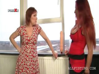 horny homosexual woman matures oiling chest and