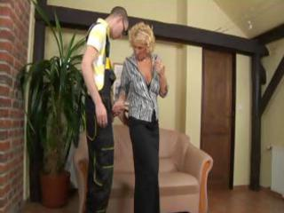 blond older  chick takes a difficult more