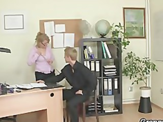 naughty office angel fucks employee