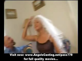 super blond woman as bride does dick sucking and