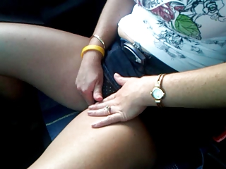naughty lady pleases into the car