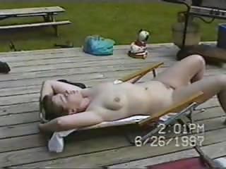 nudist lawnchair housewife