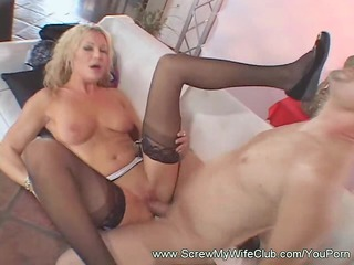 blonde woman licking the cumshots