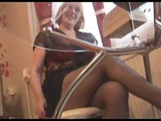 furry elderly in pantyhose striptease