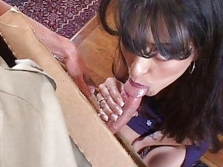 wonderful lady does cock sucking for pizza
