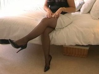 american lady young housewife inside pantyhose