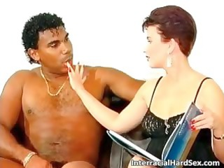 pretty redhead lady lick giant brown dick