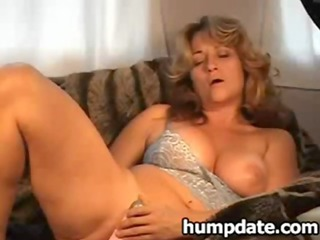 awesome milf with sweet chest dildoing