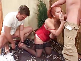 2 fresh studs twice team saggy tittied redhead