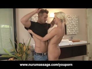 blond woman nuru massage turns in cock sucking 69