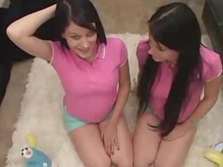 twins - teenager sisters being taught by father