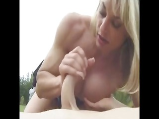 cougar muscled with giant clit outside