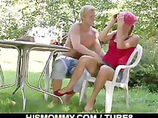 milf playing his gf outdoors