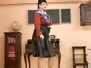 milf inside glasses and satin stockings gets