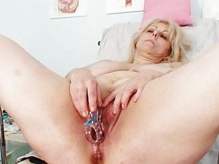 naughty albino older  girl at gyno exam