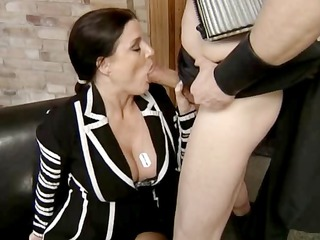 older  german brunette sucks his dick and