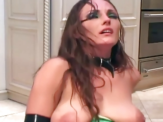 lady copulates inside latex bikini galoshes and