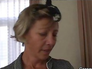 old charwoman masturbates cock instead cleaning