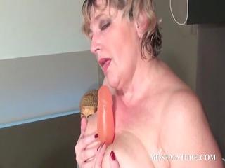 trashy mature masturbating light red whore