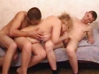 bleached grownup mature teaching 2 men