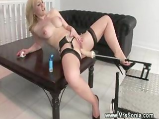 blond lady and a drill device