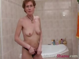 hirsute cougar pees and acquires a bath