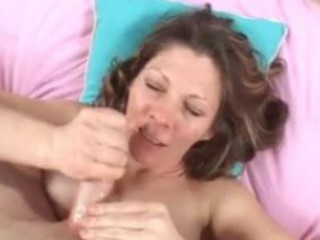 awesome lady drinks amateur white cream