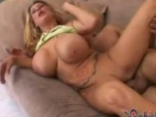 slutty large boob milf drilled on the couch