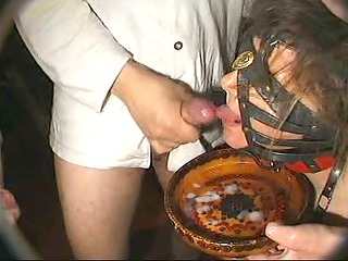 a big bukkake for submissive frrench older  belle
