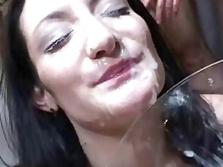 hot brunette momma taking facial bukkake after