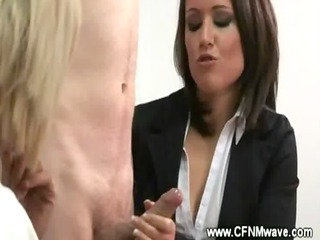 cfnm office jerkoff session with extremely
