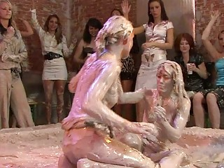 hot looking woman bitches inside lesbo mud